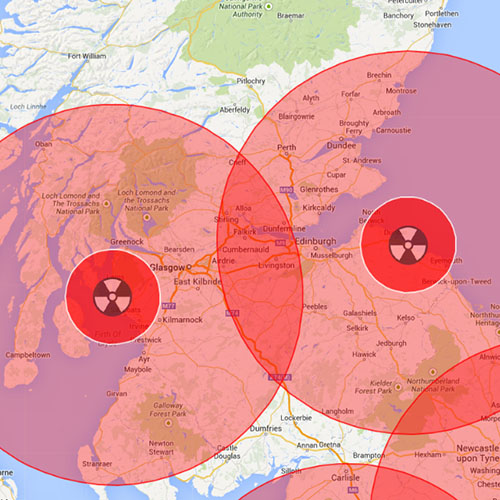 Excerpt from the interactive Google map of Europe's Nuclear Risks