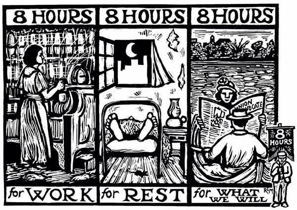 "Artist Ricardo Levins Morales commemorates the ""Eight Hour"" movement of early trade unionists."